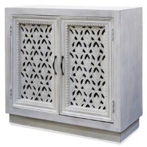 "36"" White Washed 2 Openwork Door Cabinet"