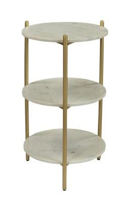 """16"""" Round White Marble 2 Shelf Table"""