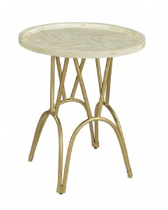 "20"" Round Antique White Finish Mosaic Top Table"