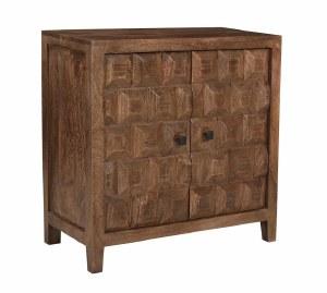 "29"" Brown 2 Door Cabinet With Square Design"