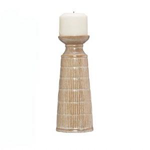 "10"" Beige Lined Ceramic Pillar Candle Holder"