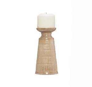 "8"" Beige Lined Ceramic Pillar Candle Holder"