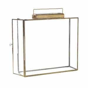 "14"" Flat Square Glass and Brass Lantern"