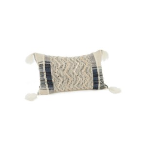"""12"""" x 20"""" Blue and Ivory Zig Zag Pillow"""
