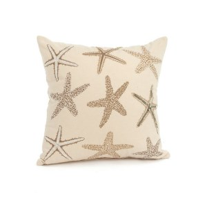 """17"""" Square Beige and Taupe Starfish Pillow"""