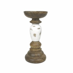 "14"" Brown and Antique White Finish Wooden Pillar Candle Holder"