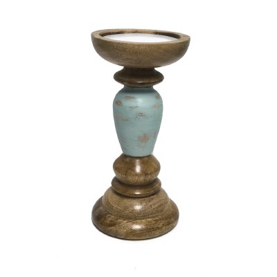 """14"""" Brown and Antique Turquoise Finish Wooden Pillar Candle Holder"""