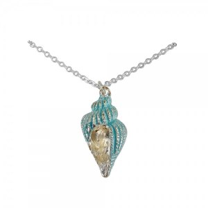 Aqua and Silver Toned Cone Shell Necklace