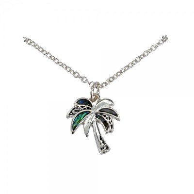 Silver Tone and Abalone Palm Necklace