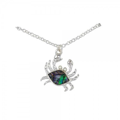 Silver Toned and Abalone Crab Necklace