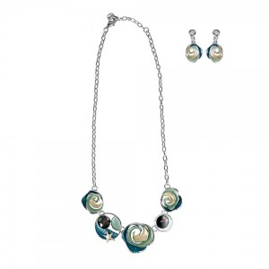 Necklace and Earring Aqua and Blue Swirl Set