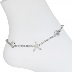 Silver Toned Starfish Bling Anklet