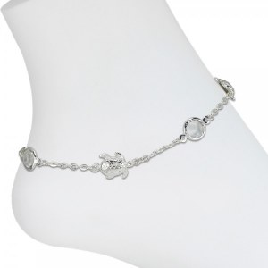 Silver Toned Turtle Bling Anklet