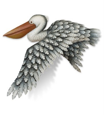 """20"""" Gray Pelican In Flight Metal Wall Plaque"""