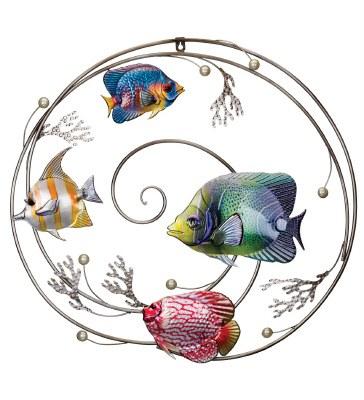 "21"" Multicolored Fish In Swirl Metal Wall Plaque"