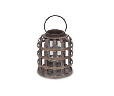 """14"""" Brown Grid Bamboo Lantern"""