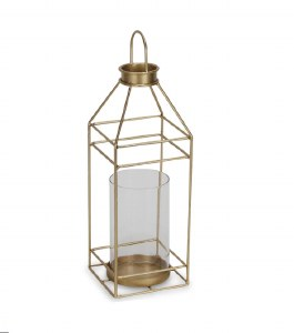 "15"" Gold Metal Lantern With Glass Shade"