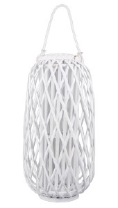 "23"" White Washed Wicker Lantern"