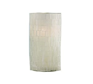 "5"" White Mosaic Glass Votive Candle Holder"