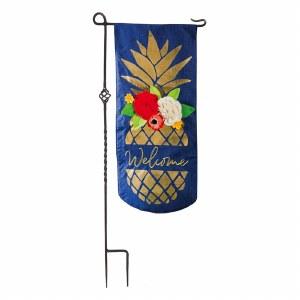 """12"""" x 28"""" Gold Pineapple Flowers Garden Flag"""