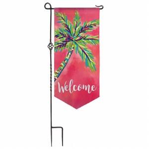 "12"" x 28"" Pink Palm Welcome Garden Flag"