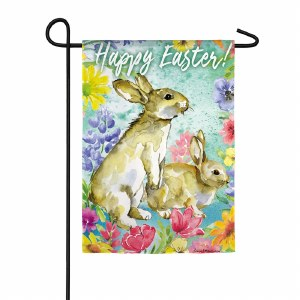 "12"" x 18"" Happy Easter With Brown Bunny Garden Flag"
