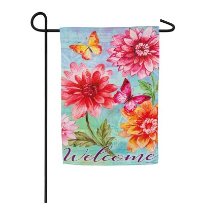 """12"""" x 18"""" Mini Pink and Orange Flowers Welcome Garden Flag"""