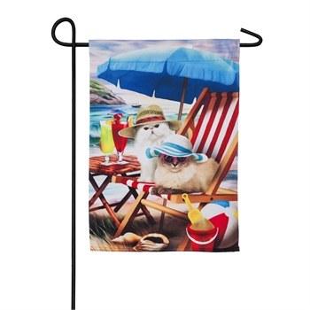 "12"" x 18"" Mini Beach Cats Garden Flag"