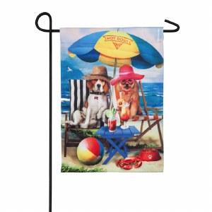 """12"""" x 18"""" Mini Beach Dogs Garden Flag"""