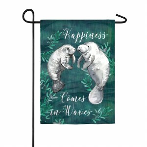 "12"" x 18"" Mini Happiness Comes In Waves Manatees Garden Flag"