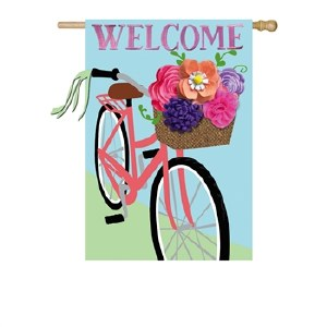 "28"" x 44"" Welcome Flower Bike Garden Flag"