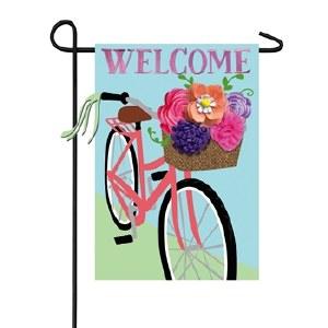 "12"" x 18"" Mini Welcome Flower Bike Garden Flag"
