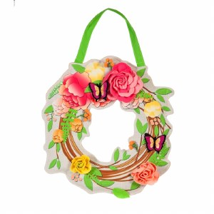 "17"" 3D Flower Wreath Door Hanger"