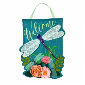 "19"" Dragonfly Welcome Door Hanger"