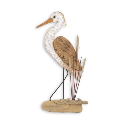 "22"" White Washed and Brown Heron Wooden Plaque"