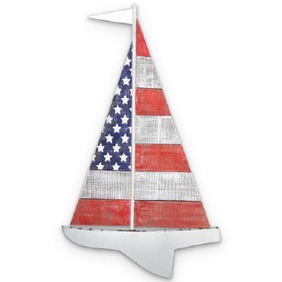 "27"" American Flag Sailboat Wooden Wall Plaque"