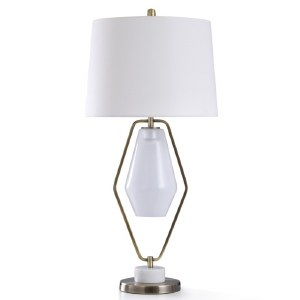 """37"""" Antique Gold Diamond Frame With Glass Shade Table Lamp"""