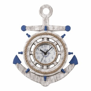 """14"""" Round Blue and White Anchor Wall Clock"""