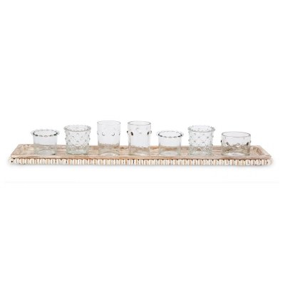 """Set of 7 Clear Votive Candle Holders In 22"""" Beaded Wooden Tray"""