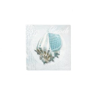 "16"" Square Turquoise Conch Shell With Beach Saying Canvas"