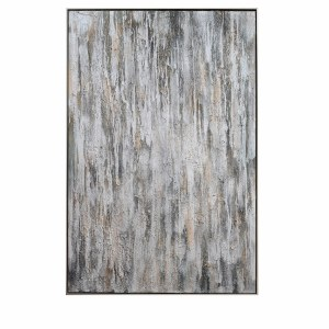 """60"""" x 40"""" Silver and Gold Textured Abstract Framed Canvas"""