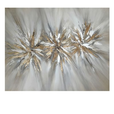 """47"""" x 59"""" 3 Silver and Gold Bursts Canvas"""