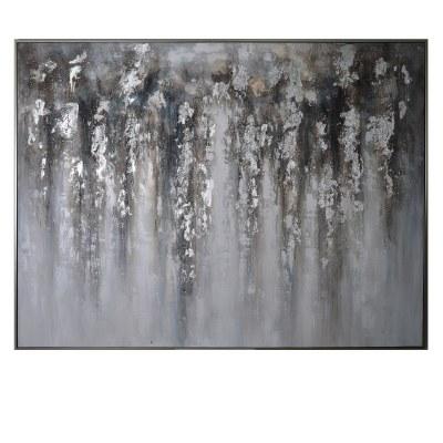 "61"" x 81"" Silver Rain Framed Canvas"
