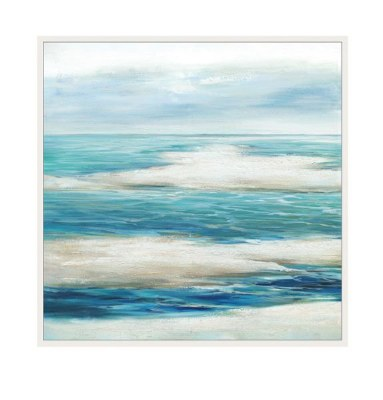 "40"" Square Liquid Blue 1 Framed Canvas"