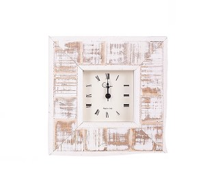 """4"""" Square White Washed Harbor Table Clock"""