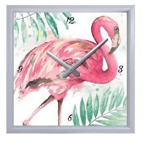 "11"" Square Flamingo and Palm Wall Clock"