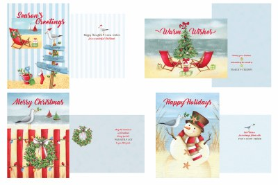 "5"" x 7"" Box of 20 With 4 Assorted Coastal Christmas Cards"