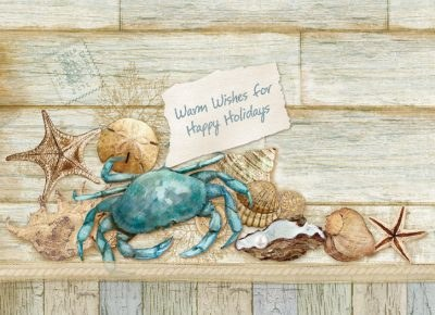 "5"" x 7"" Box of 12 Blue Crab Holiday Cards"