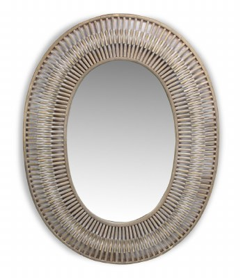 """34"""" x 26"""" Oval White Washed Mirror With Bamboo Branches"""