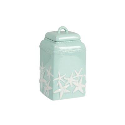 "9"" Seafoam and White Starfish Ceramic Canister"